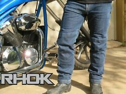 Rhok Gen1 Motorcycle Jeans Lined With Dupont Andtrade Kevlar Andreg + Knee And Hip Ce Armours