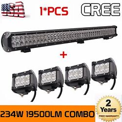 36inch 234w Led Work Light Bar Ute Offroad Truck Boat 4wd+4x 4inch 18w Pods Cube