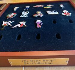 The Betty Boop Pin Collection Wooden Box With 13 Pins