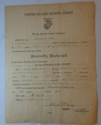 Usmc Ww2 Brigadier General Clarence Burpee 2nd Mrs Ww1 Honorable Discharge Paper