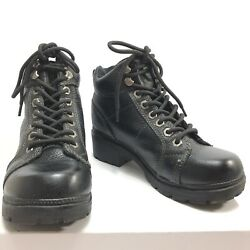 Harley-Davidson Women's Tyler Lace Chukka Motorcycle Boots Black Leather Size 6M