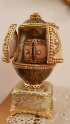 One Only Faberge Russia 24k Gold Double Egg Real Eggs Musical Handmade Eu
