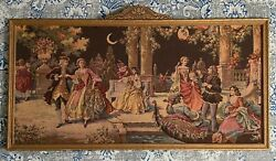 1920s Framed Vintage Tapestry Venice Garden Party Wall Hanging Made in Belgium