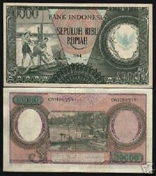 Indonesia 10000 10000 Rupiah P-101 A 1964 Unc Water Buffalo Currency Money Note