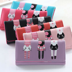 Cute Cats Women Girl's Leather Clutch Wallet Card Holder Phone Long Handbags US $6.98