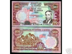 Western Samoa 100 Tala P30 1990 A Prefix King Unc Rare Currency Money Banknote