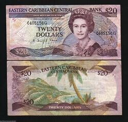 East Caribbean States Grenada 20 Dollars P24 G2 1988 Queen Boat Sign 2 Bank Note