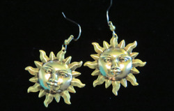 Celestial Large Sun Earrings 24 Karat Gold Plate Faces Spring Summer Vacation