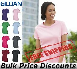 Gildan Ultra Cotton Women's T Shirt Blank Solid Plain 2000L upto 3XL Many Colors $7.89