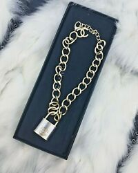 Rare And Sold Out 2014 Gold Silver Cc Xl Large Padlock Runway Necklace