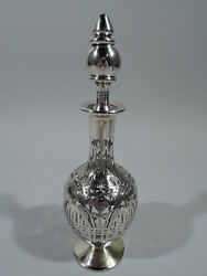 Black Starr And Frost Decanter - 87 - Antique American Glass And Silver Overlay