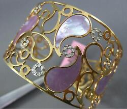 Large .70ct Diamond And Aaa Pink Pearl 14kt Yellow Gold Filigree Bangle Bracelet