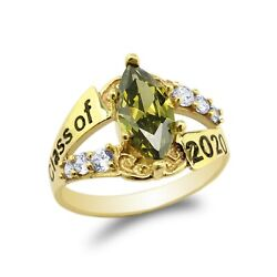 Yellow Gold Plated Graduation Class Of 2020 Ring 1.25ct Peridot Marquise Cz