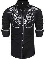Daupanzees Men#x27;s Long Sleeve Embroidered Shirts Slim Fit Casual Button Down Shir