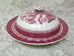 Vintage, Spode-copeland English, Red Blue Willow 2pc Rounded Butter Dish 4inx8in