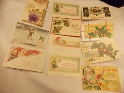 Lot Of 80 Antique Christmas Santas Holiday Post Cards Early 1900s