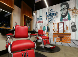 3d Make Up A344 Barber Shop Wallpaper Wall Mural Removable Self-adhesive Amy