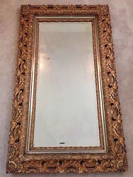 Antique Baroque Style Mirror- Gilded Wood - Beveled Glass - 3 Tier - 52x30x3