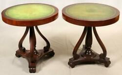 Tables, Round Tooled, Mahogany, Green Leather Top, Pair, Vintage, 1940 C