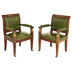 Fauteuils Chairs Vintage French Empire Style Mahogany Early 1900s Pair
