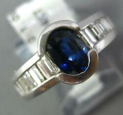 Wide 2.35ct Diamond And Aaa Sapphire 14kt White Gold 3d Semi Bezel Engagement Ring
