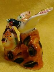 Vintage Japan Pheasant Salt And Pepper Shakers And Base