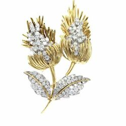 4.50CTW Diamond Cluster Large Lily Flower Brooch Pin Solid 18k Yellow Gold