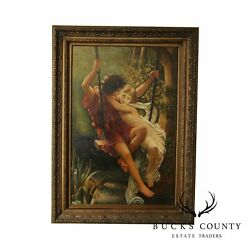 The Swing Springtime Oil On Canvas, Reproduction After P. Auguste Cot