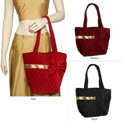 Shoulder Bag Quilted Velvet Bags With Bow and Golden Lace Bridesmaid Handbag $21.99