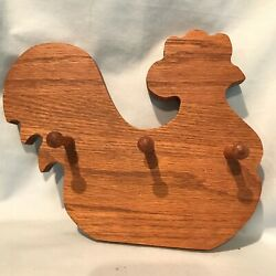 Chicken Wood Keyholder with Pegs 7quot; x 8quot; Oak 2 wall mount holes on back $13.99