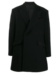 Raf Simons Double Breast Fitted Wool Blend Jacket Coat Heroes And Loser Black