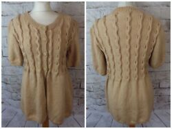 Vintage hand knit cable camel brown wool blend cardigan tunic short sleeve 10 S