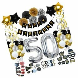 50th Birthday Decorations (123Pcs) Gold Birthday Party Supplies Gifts Kit for...