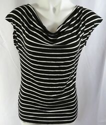 Thx Collection Womens Large Top Black Stripe Stretch Drape Neck SS Open Back