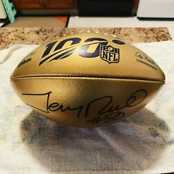 Autographed NFL 100 Gold Football By SF 49ers Hall Of Famer Jerry Rice