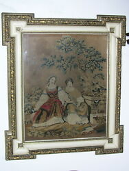 Antique Italian 19th Century Gilded And Enameled Wood Art Frame With Tapestry