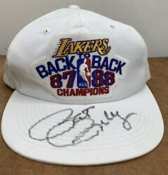 Vintage Lakers Back To Back 87 88 Champions Snap Back Signed Pat Riley