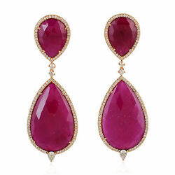 Ruby Dangle Earrings And Pave Diamond With Solid 18k Rose Gold Womenand039s Jewelry