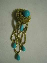 One Italy 18k Yellow Gold Dangle Clip Earring Turquoise Blue Bead And Drops 10.4g