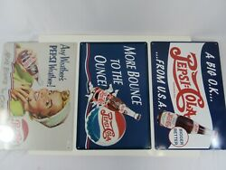 Pepsi Cola Reproduction Tin Signs Lot Of 3 Bounce To The Ounce Big Ok Metal