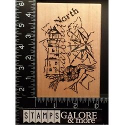 Stampendous Rubber Stamps Xxp003 Lighthouse Cottage Nautical Compass North 2639