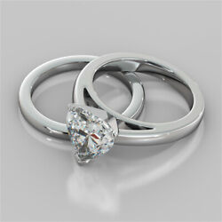 2.00 Ct Heart Band Set Diamond Engagement Ring 14k Solid White Gold Size 6 B3
