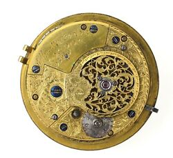 Ellicott And Taylor London English Cylinder Fusee Pocket Watch Movement H56