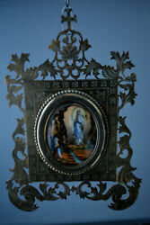 Antique Porcelain And Brass Icon Our Lady Of Lourdes Virgin Mary