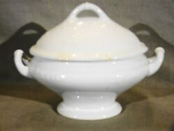 Antique Staffordshire White Ironstone Henry Burgess Hyacinth Oval Sauce Tureen