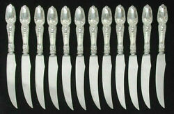 And Co Broom Corn 12 Sterling Silver Handle 7 5/8 Pheasant/ Bird Knives