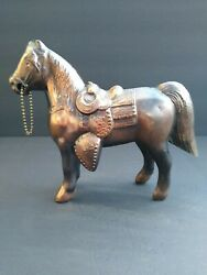 Vintage 1960's Bronze Metal Carnival Prize Vintage Horse With Saddle And Chain
