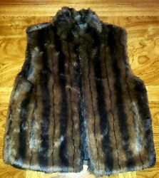 Coaco Mink Faux Fur Brown & Black Reversible Vest Size Small   Zip Front Womens