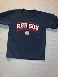 Boys Red Sox Shirt Mighty Mac Sports Boys Size 4 Youth Kids Blue MLB $7.99