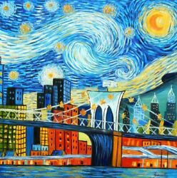 Vincent V. Gogh - Homage Starry Night New York Edition 120x120 Cm Oil Painting